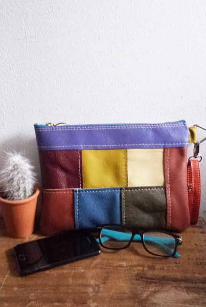 leren clutch patchwork
