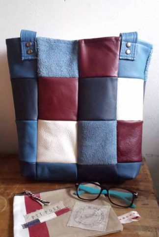 leren shopper patchwork