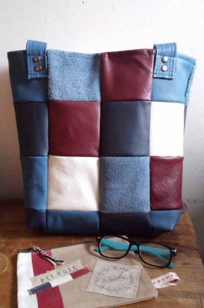leren shopper patchwork