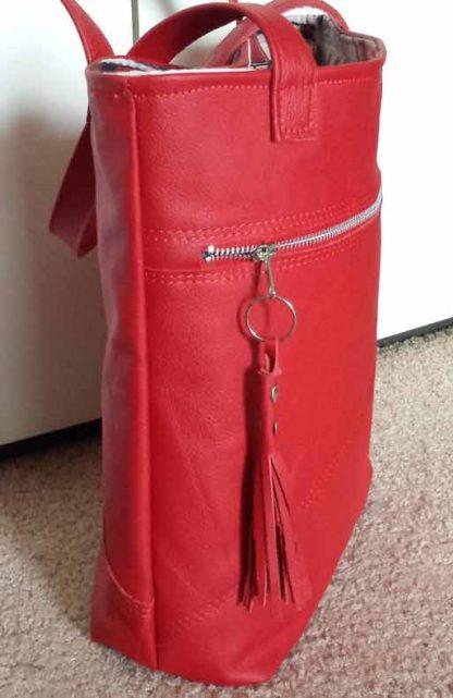 leren damestas rood